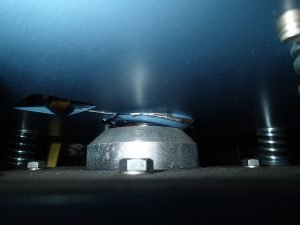 Image of a damaged VSAT dish mounting. Offshore Communications fixes and replaces bearings like this.